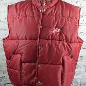 vtg Kahns Hipster Red Quilted Snap Vest 48-50 XL